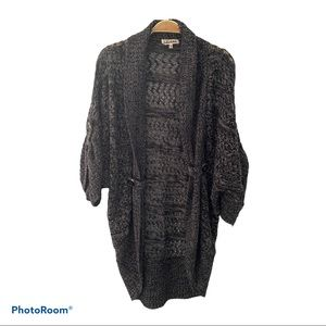 Lady Dutch High Society Knitted Open Gray Cardigan